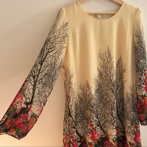 NWT ASOS Yumi Long Sleeve Tree Print Chiffon Dress